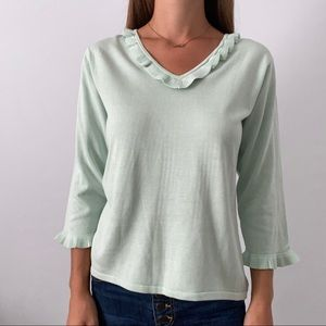 NWT Coldwater Creek Mint Green Ruffle Top Blouse